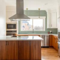 Modern traditional kitchen, Range vents, contemporary backsplash
