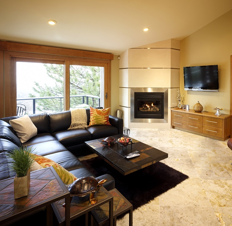 Contemporary Family Room Remodel, fireplace, natural lighting, tile | Renovation Design Group