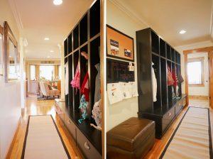 case work, cork board, entry | Renovation Design Group