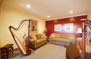 music room with piano and harp | Renovation Design Group