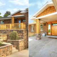 stone clad retaining walls to new porch | Renovation Design Group