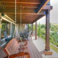 Porch, Porch Swing, Custom Decks, two story deck, Spiral Staircase, Outdoor Spaces, Back yard recreation, Backyards Back Exteriors | Renovation Design group