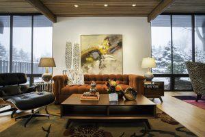 790_After_Living Room_Modern Furniture_Copper Fireplace_Mid Century Modern | Renovation Design group