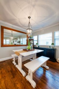 dining room farm table bungalow whole home remodel   Renovation Design Group