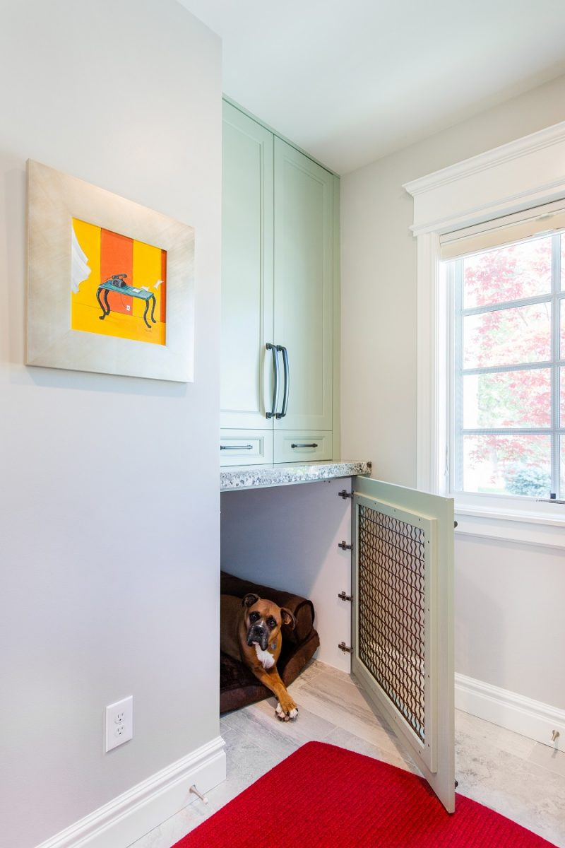 After_Interior_Mudroom_Two-Story-Minimal-Traditional Mudroom with custom dog bed | Renovation Design Group