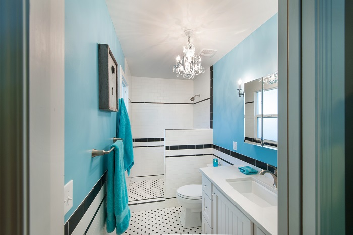 After_Interior Renovation_Blue Bathroom_Master Contemporary | Renovation Design Group