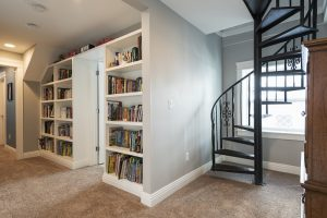 After_Interior_Second Story_Spiral Staircases_Built in Book Shelves_2nd Ave Reconstruction