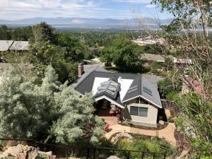 Aerial photo of contemporary patio renovation