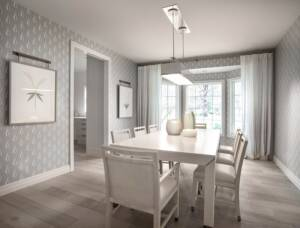 Formal Dining room, Whitw and grey color pallets, bay window, contemporary light fixtures