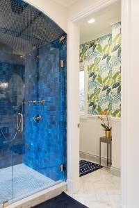 Fun bathroom wallpaper and tile