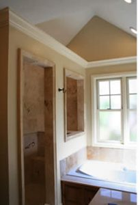 Beautiful New Master Bath in Second Story addition of tudor   Renovation Design Group