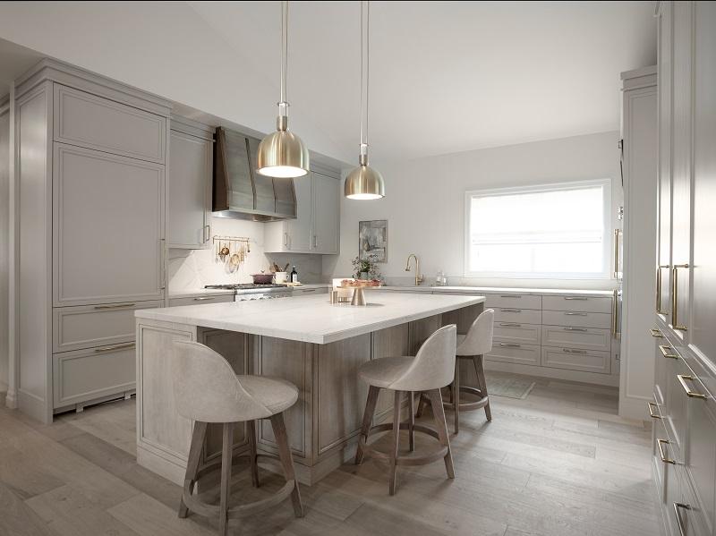 Modern kitchen, mellow color scheme, contemporary lighting