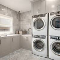 Mudroom, laundry room, double washers, double dryers
