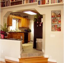Transition Using Steps from Great Room to kitchen Addition Great Room Remodeling Addition Living Room Library | Renovation Design Group